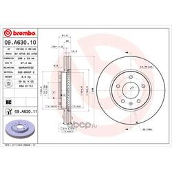 Диск тормозной передний вентилируемый (Brembo) 09A63010
