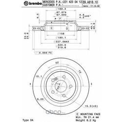 Диск тормозной вентилируемый (Brembo) 09A81811