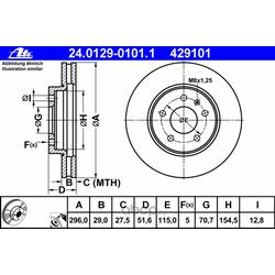 Тормозные диски Опель ANTARA Шевроле CAPTIVA2.0D, 2.4 2006 - (Ate) 24012901011