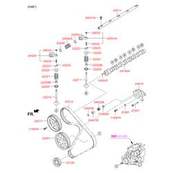 Цепь привода распредвала (Hyundai-KIA) 233514A020