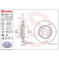 Тормозной диск (Brembo) 09A72711