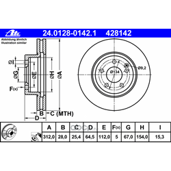 Диск тормозной вентилируемый (Ate) 24012801421