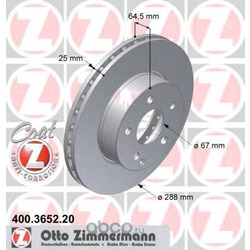 """Диск тормозной вентилируемый, """"Coat Z (Zimmermann) 400365220"""