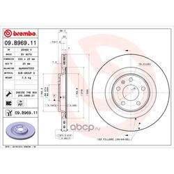 Керамический тормозной диск (Brembo) 09B96911