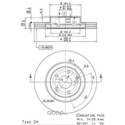 Диск тормозной передний вентилируемый (Brembo) 09982521