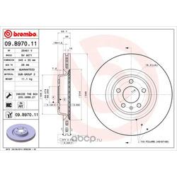 Тормозной диск (Brembo) 09B97011