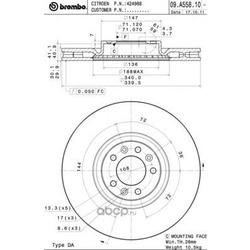 Тормозной диск (Brembo) 09A55811