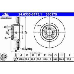 """Диск тормозной вентилируемый, """"PowerDisc (Ate) 24033001751"""