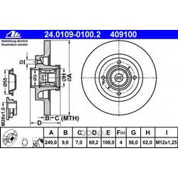 Задний тормозной диск с подшипником Пежо 207, 307 Ситроен C4 2006- (Ate) 24010901002