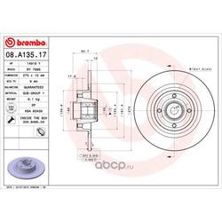 Диск тормозной, комплект с подшипником и кольцом abs (Brembo) 08A13517