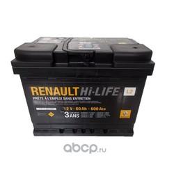 Батарея аккумуляторная 60А/ч 600А 12V обратная поляр. стандартные клеммы (RENAULT) 7711238597