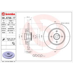 Диск тормозной комплект с подшипником и кольцом (Brembo) 08A72917