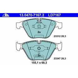 """Колодки тормозные дисковые, комплект """"Аte Ceramic (Ate) 13047071672"""