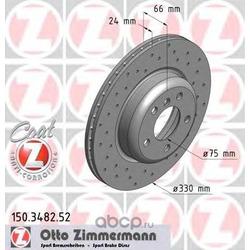 Диск тормозной вентилируемый, перфорированный (Zimmermann) 150348252