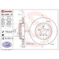 Тормозной диск (Brembo) 09C40413