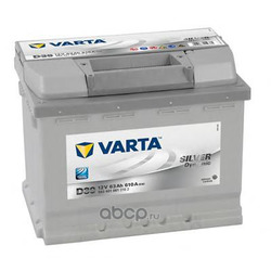 Батарея аккумуляторная 63А/ч 610А 12В прямая полярн. стандартные клеммы (Varta) 5634010613162