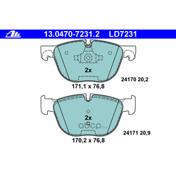 """Колодки тормозные дисковые, комплект """"Аte Ceramic (Ate) 13047072312"""