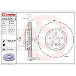 Тормозной диск (Brembo) 09C40913