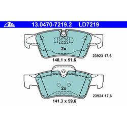 Комплект тормозных колодок, дисковый тормоз (Ate) 13047072192