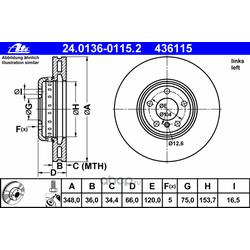 Тормозной диск (Ate) 24013601152