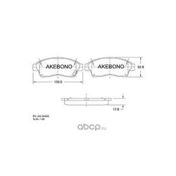 Колодки тормозные дисковые передние (Akebono) AN394WK