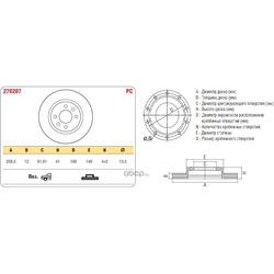 Тормозной диск RENAULT LOGAN, SANDERO (259x12x61x41) перед. (ASP) 270207