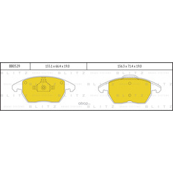Колодки тормозные дисковые, комплект (Blitz) BB0529