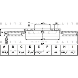 Диск торм пер LAG III MEG III SCENIC III F4R M4R M9R (1шт) (Blitz) BS0408