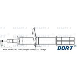 Стойка амортизационная масляная передняя (BORT) 22858003