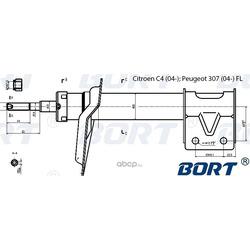 Стойка амортизационная газомасляная передняя левая (BORT) G22050048L