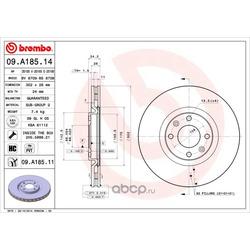 Тормозной диск (Brembo) 09A18511