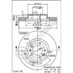 Тормозной диск (Brembo) 09830311