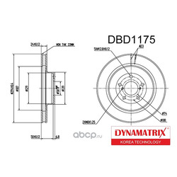 диск тормозной (DYNAMATRIX-KOREA) DBD1175