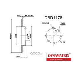 диск тормозной (DYNAMATRIX-KOREA) DBD1178
