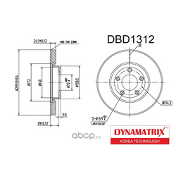 диск тормозной (DYNAMATRIX-KOREA) DBD1312