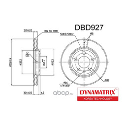диск тормозной (DYNAMATRIX-KOREA) DBD927