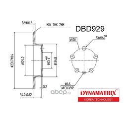 диск тормозной (DYNAMATRIX-KOREA) DBD929