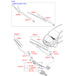 Щетка стеклоочистителя для легковых автомобилей торговой мар (Hyundai-KIA) 983601J000