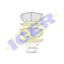 Комплект тормозных колодок, дисковый тормоз (Icer) 182044