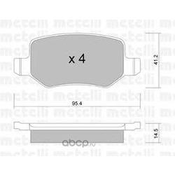Комплект тормозных колодок, дисковый тормоз (Metelli) 2205650