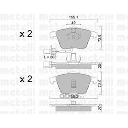 Комплект тормозных колодок, дисковый тормоз (Metelli) 2205490