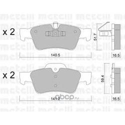 Комплект тормозных колодок, дисковый тормоз (Metelli) 2205681