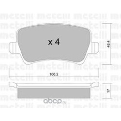 Комплект тормозных колодок, дисковый тормоз (Metelli) 2206760