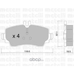 Комплект тормозных колодок, дисковый тормоз (Metelli) 2203101