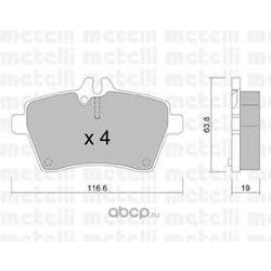 Комплект тормозных колодок, дисковый тормоз (Metelli) 2206460
