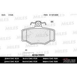 Колодки тормозные NISSAN ALMERA 00>/PRIMERA 90>02 задние (Miles) E110070