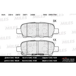 Колодки тормозные NISSAN X-TRAIL/QASHQAI/TIIDA/INFINITI FX/RENAULT KOLEOS задние (Miles) E110008