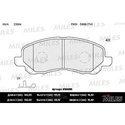 Колодки тормозные MITSUBISHI ASX/LANCER/OUTLANDER/DODGE CALIBER передние (Miles) E100051