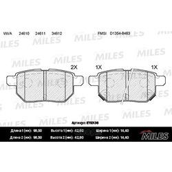 Колодки тормозные TOYOTA COROLLA 1.4 VVT-I 02>/AURIS 1.6/1.4 07> задние (Miles) E110136