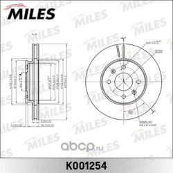 Диск тормозной KIA RIO III 11-/HYUNDAI SOLARIS 10- передний D=256мм. (Miles) K001254